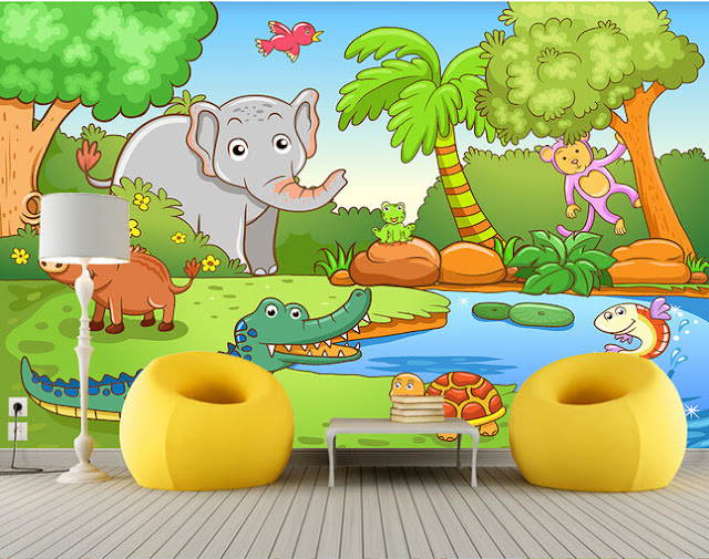 Jungle Wall Mural Kids Room Animals Cartoons Baby Wallpapers