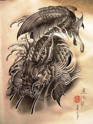 Hình xăm cá chép hóa rồng nghệ thuật đầy may mắn