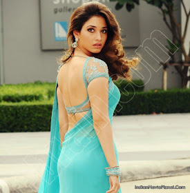 ... Stunning Pictures: actress tamanna bhatia latest hot blue saree images