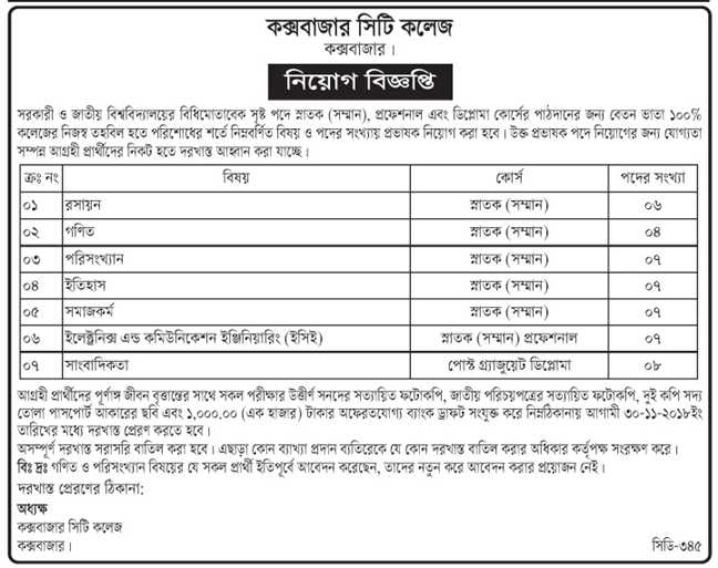 Cox's Bazar City College Job Circular 2018
