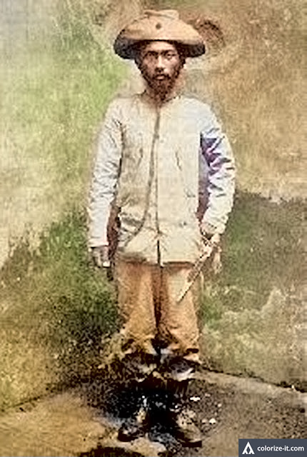 Miguel Malvar in soldier's uniform.  Image source:  Unknown author, Wikimedia Commons, public domain.  Colorized courtesy of Algorithmia.