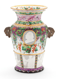 Colorful, ornate antique vase made by Union Porcelain Works