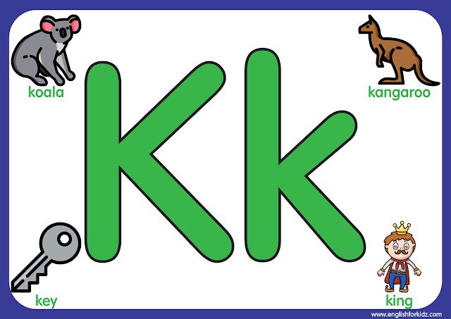 Letter k - big printable alphabet letters for kids learning English