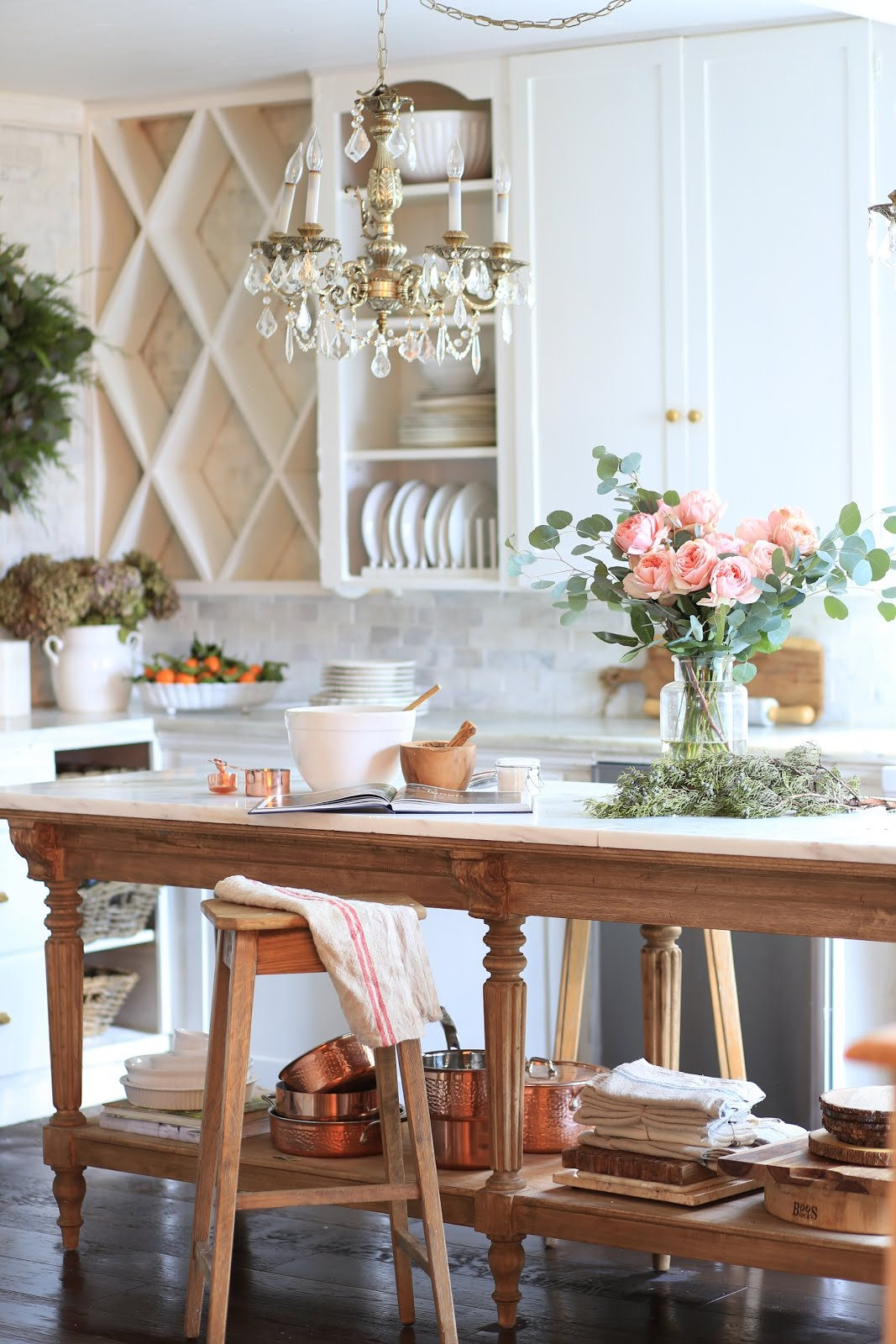 A charming vintage inspired kitchen island  FRENCH
