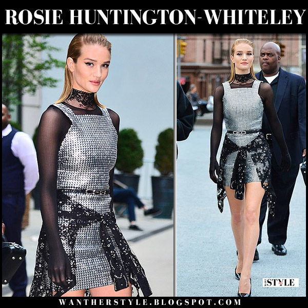 Rosie Huntington-Whiteley in silver metallic mini dress alexander wang model style june 3