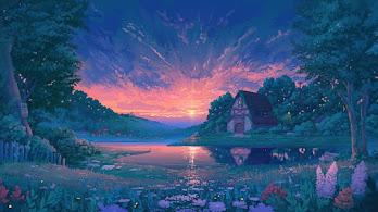 Sunrise, Nature, Lake, Flowers, Landscape, Cottage, Digital Art, 4K, #6.1241
