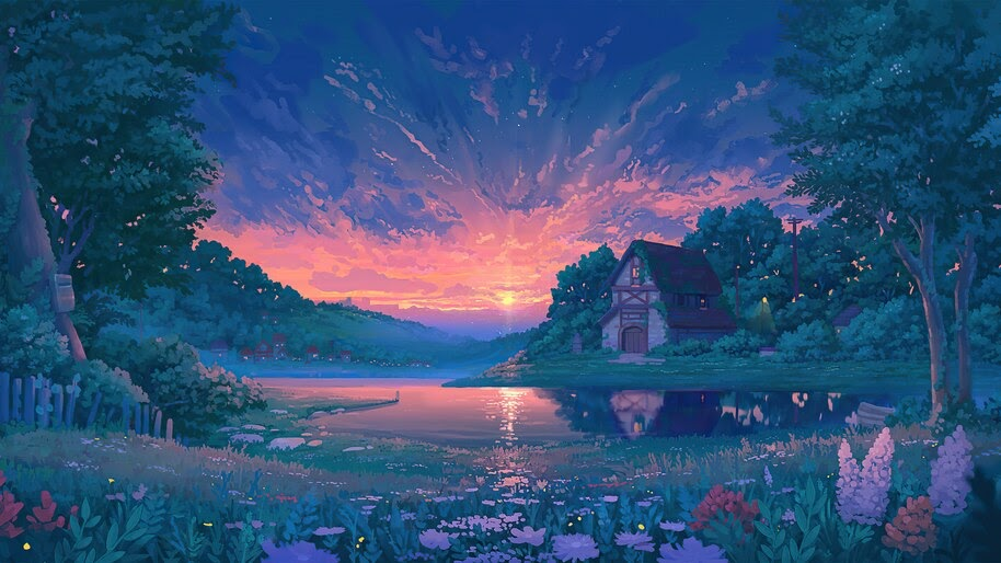 Sunrise, Nature, Lake, Flowers, Landscape, Cottage, Digital Art, 4K, #6.1241