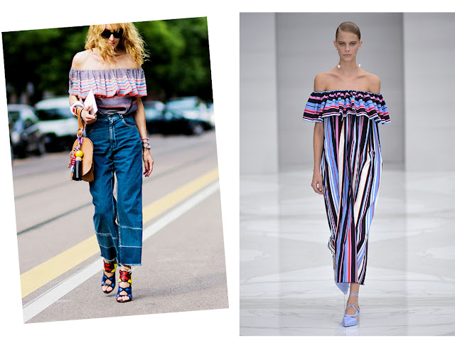 off shoulder styles ruffled