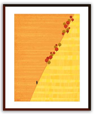 Clod illustration poster 30x40 Seul dans les champs