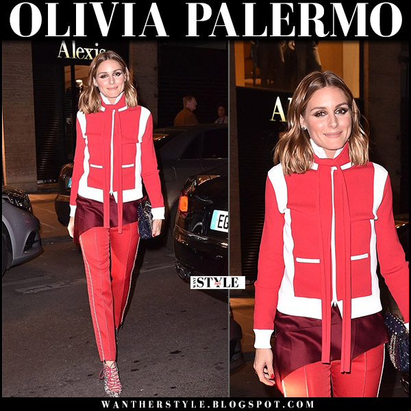 Olivia Palermo in red zipped jacket and red trousers at Dior ILoveSpikes dinner paris september 26 2017 paris fashion week outfit