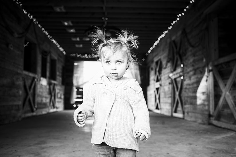 Toddler girl walking around the barn at Horse Stamp Inn
