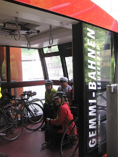 Cycles and cyclists loaded into the Gemmi-Bahnen, Leukerbad, Switzerland