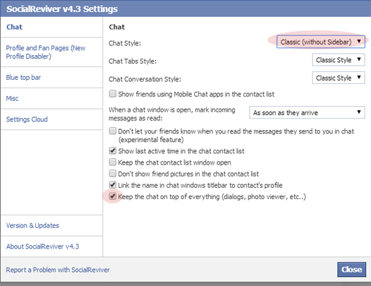 SocialReviver Settings