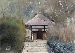 明月院 水彩 Meigetsuin temple Watercolor. 鎌倉のあじさい寺、明月院の風景で、水彩のスクラッチ技法を解説しました。