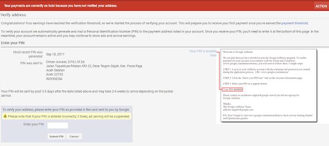Ini Cara Verifikasi PIN Google Adsense Menggunakan KTP