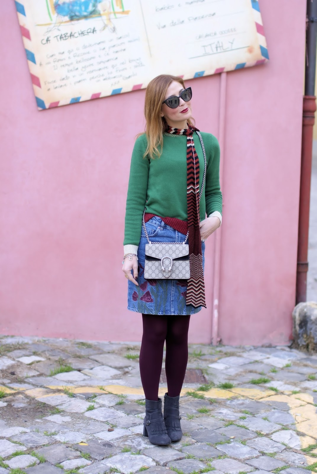 denim mini skirt and Gucci style on Fashion and Cookies fashion blog