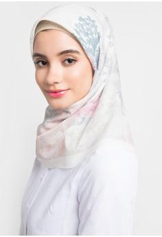 Jilbab Motif Bunga Putih