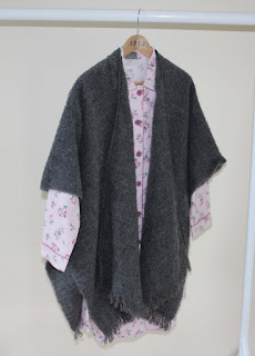 Julia Woven Nightshirt with Laura Cape in Charcoal