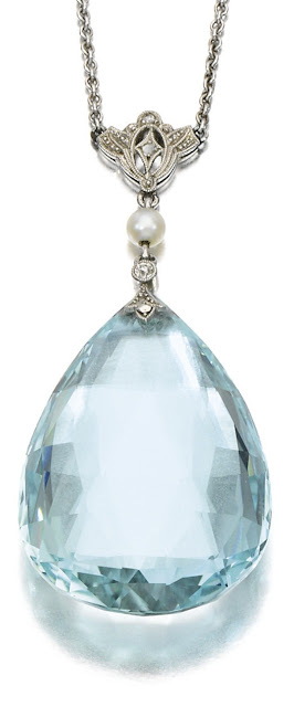 Antique aquamarine and diamond necklace with pearl, circa 1910