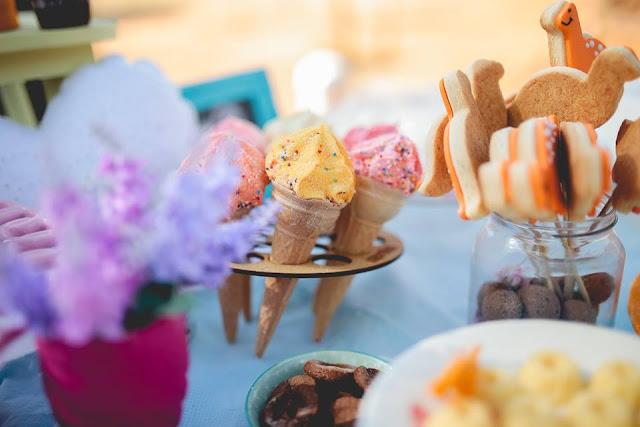 Aniversário Tema Dinossauro - Meninas - DIY - sorvete marshmallow