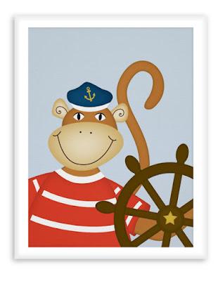 Nautical Poster Nursery Helmsman Monkey