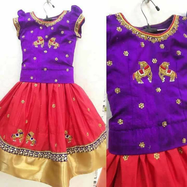 Red and Purple Party Wear Kids Lehenga
