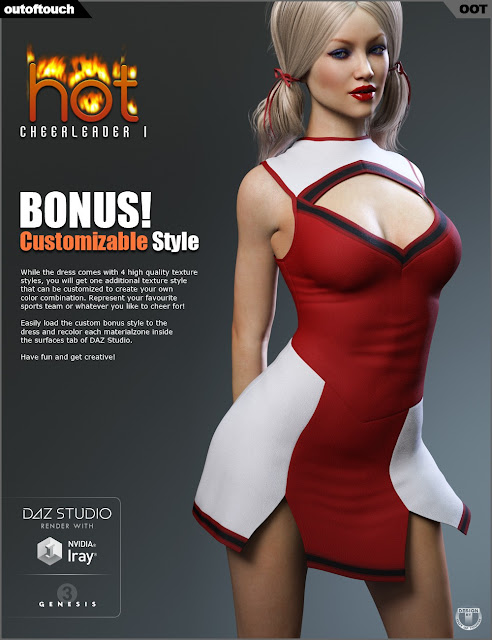 HOT Cheerleader 1 Outfit for Genesis 3 Female