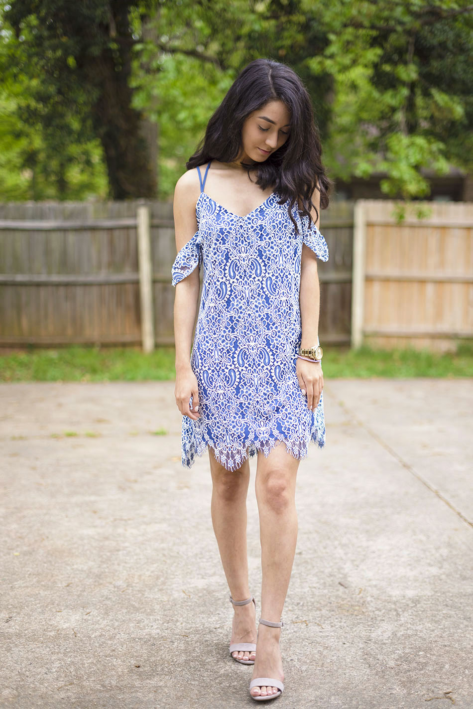blue white cold shoulder lace dress carrson sandals
