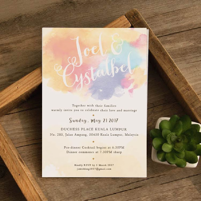 Colourful Watercolour Printed Wedding Invitation Cards