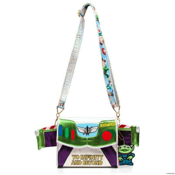 to infinity and beyond written across metallic handbag with wing detail, alien charm and long shoulder strap