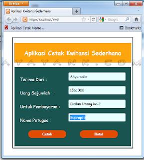 tampilan form aplikasi cetak kwitansi dengan php
