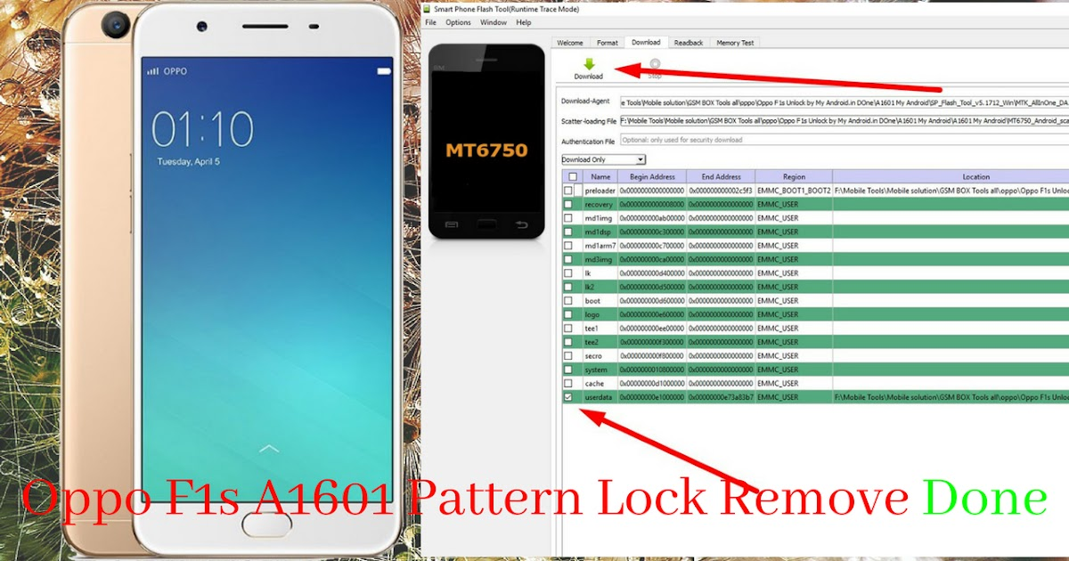 Oppo F1s FRP Unlock Tool And File | How To Remove Oppo A1601 Pattern