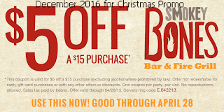 Smokey Bones coupons for december 2016