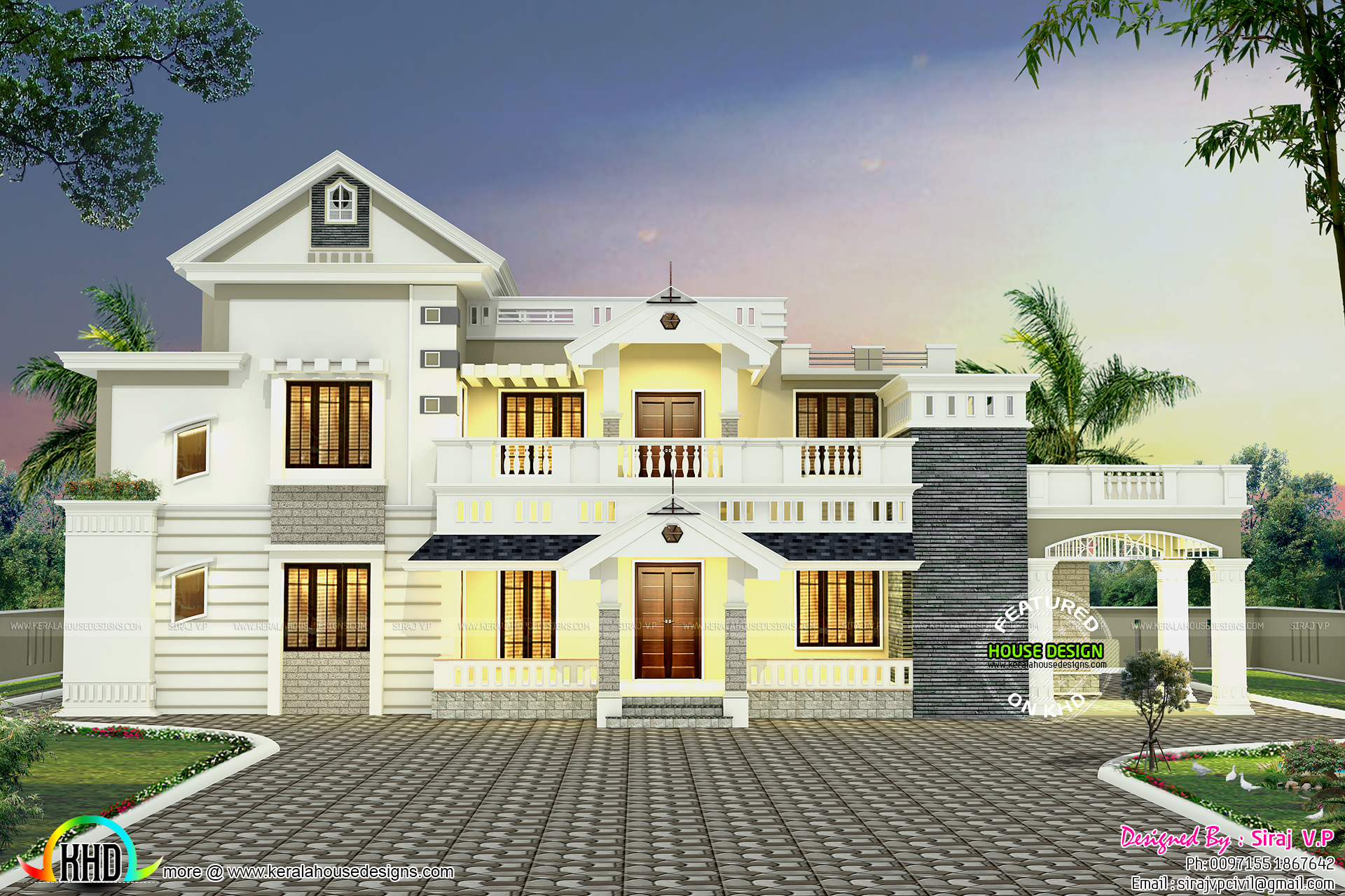 colonial mix villa 2600 sq ft kerala home design and floor plans. Black Bedroom Furniture Sets. Home Design Ideas