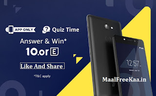 Quiz Time win Free  10.or E