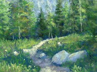 landscape painting pastel mountain summer spring green nature