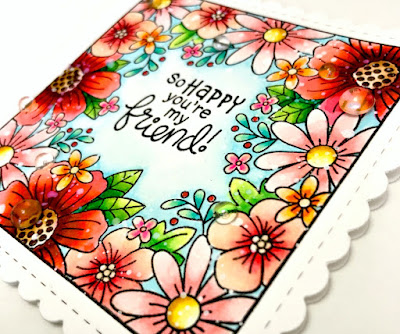 So Happy You're My Friend Card by Samantha Mann - Newton's Nook Designs, Zig Clean Color Real Brush Markers, friendship, watercolor, #newtonsnook #flowers #handmadecard