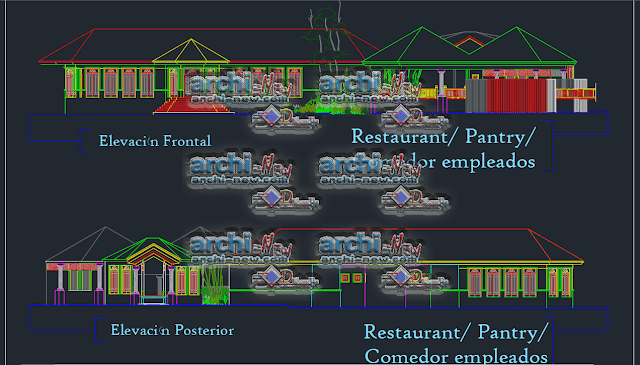 Vertical projections of the project (sections ( Restaurant canteen project Dwg