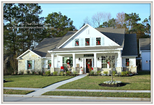 Farmhouse Christmas Porch-Suburban Farmhouse-Texas-From My Front Porch To Yours