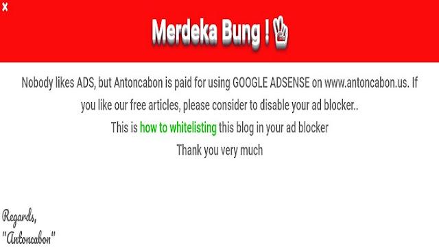 Cara Membuat Notifikasi Ad Blocker Edisi Hari Kemerdekaan
