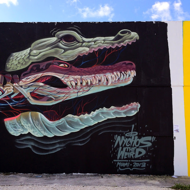 """""""Dissection Of An Alligator"""" New Street Art Mural by Nychos in Miami, USA. 2"""