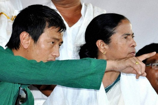 West Bengal Chief Minister and TMC Supremo Mamata Banerjee with former Soccer star Baichung Bhutia