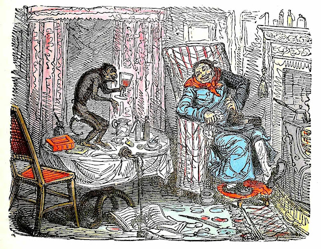 George Cruikshank color cartoon man and pet monkey