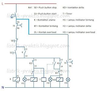 Diagram kontrol motor star delta automatis