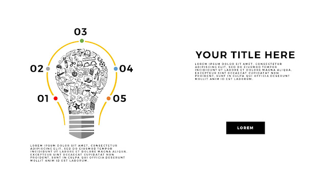 Infographic Education Light Bulb Elements Free PowerPoint Template Slide 6