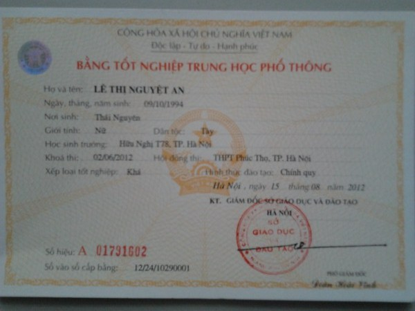 bang cap tai ha noi