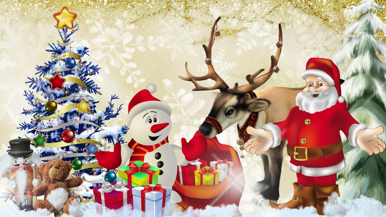 santa-friends-reindeer-snowman-xmas-tree-Christmas-cartoon-wallpaper ...