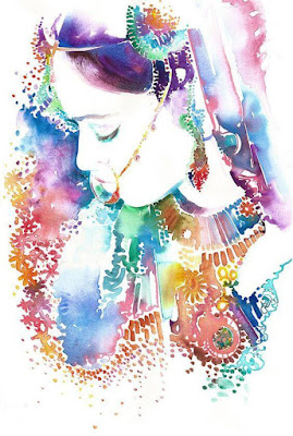 Original Watercolor Painting Of Indian Bride By Famous Artist/ illustrator Cate Parr.