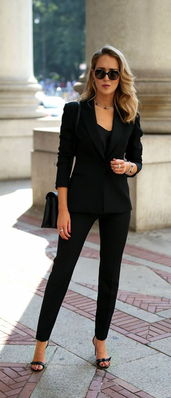 Office Look Skinny Trousers Blazer And Heeled Sandals Just A