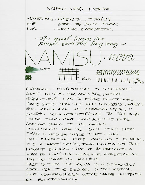 Namisu Nova Ebonite fountain pen review
